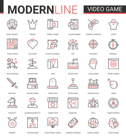 Video game thin red black line icon vector illustration set with outline entertainment mobile app symbols collection with devices and gadgets for gamers, vr glasses for gaming in augmented reality Ilustração