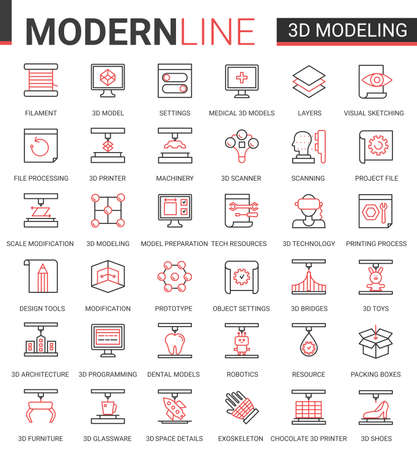 3d printing science technology flat web icon vector illustration set. Red black thin line creative design with 3d modelling modern cyber tech printer equipment machinery, future scientific innovations