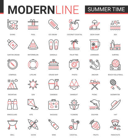 Summer time vacation thin red black line icon vector illustration set. Website outline summertime pictogram app symbols collection with travel or beach holiday items and sport activity editable stroke Ilustração