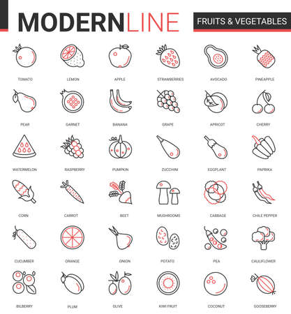 Fruits vegetables flat thin red black line icon vector illustration set with outline fresh organic vegetarian food symbols, collection of corn apple, carrot onion potato avocado mushroom tomato