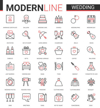 Wedding thin red black line icon vector illustration set. Outline symbols for wedding ceremony and bridal party organization, linear collection of bride clothes, jewelry rings, cake balloon flowers