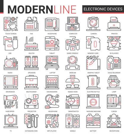 Electronic devices complex concept icon vector set. Red black thin line computer game accessories and kitchen appliances collection of outline electronically symbols for gadget or kitchenware store Ilustração