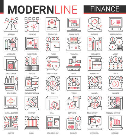 Finance concept complex thin red black line concept icon vector set with outline financial business symbols collection commerce analysis technology, economic data consulting and analyzing bank account Ilustração