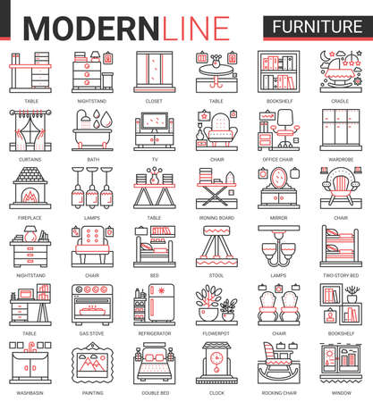 Furniture concept complex thin red black line icons vector set, outline finishing items decorate home or office room interior, linear decor symbols collection with chair lamp table bed bookshelf tv