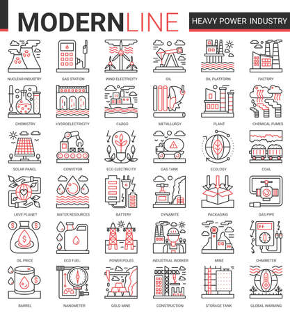 Heavy power industry complex concept thin red black line icon vector set with outline infographic industrial manufacturing symbols of metallurgy, chemical plant and factory, electricity production Ilustração