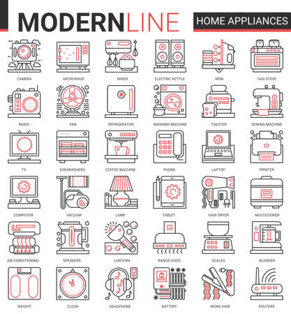 Home appliances complex concept line icon vector set. Red black thin linear symbols for house cleaning, kitchen or bathroom household items, hair body care and electronic gadgets outline collection