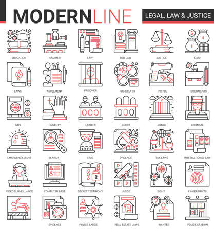Legal law and justice concept complex icon vector set. Red black thin line infographic design of mobile app website symbols with judicial legislation education, lawyer defense, police investigation