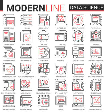 Data science complex thin red black line concept icon vector set with outline symbols collection scientific technology in database storage internet systems, cyber security of network connection Banco de Imagens - 155228730