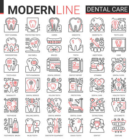Dental care medicine complex thin red black line concept icons vector set, outline dentistry healthcare website symbols collection with medical tooth implant pictogram, dentist equipment, toothpaste Ilustração
