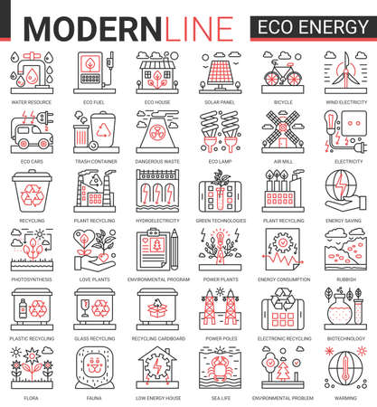 Eco energy complex concept icon vector set. Red black thin line website design collection of ecology problems linear symbols, environmental ecosystem protection and green waste recycling technology