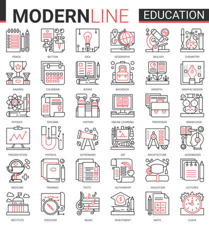 Education complex concept thin red black line icon vector set with outline infographic school, laboratory or university, educational symbols, lab experiment equipments, school book and stationery