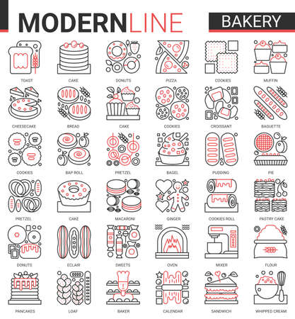 Bakery red black concept complex line icons vector set. Sweet food dessert outline pictogram collection with baker chef sugar products and equipment, bread cake pie cookie cheesecake symbols Ilustração