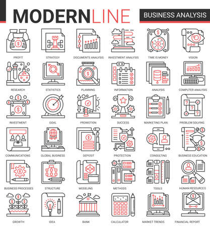 Business analytics concept complex thin red black line icons vector set, businessman analyst tools, digital analyzing stock market information, consulting strategy outline web symbols collection