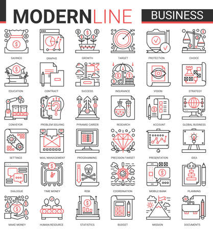 Business complex concept thin red black line icon vector set with outline infographic symbols of success business strategy for money savings growth, successful planning budget and office work