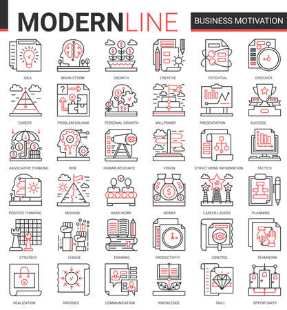 Business motivation complex concept thin red black line icon vector set with motivational outline symbols, productivity of financial processes, teamwork business planning, communication training Ilustração