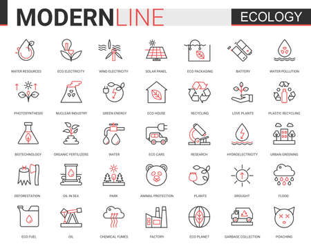 Ecology flat line icon vector illustration set. Red black thin linear design collection of ecosystem environmental resource symbols, eco cars houses, modern green city technology to save environment