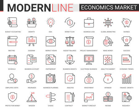 Economics stock market flat line icon vector illustration set. Red black thin linear economical analytics symbols of finance marketing, bank account analysis and research, banking data technology