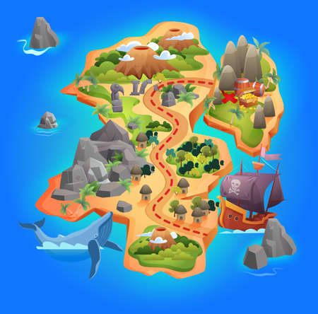 Treasure game map vector illustration. Cartoon tropical island map showing road direction to pirate gold treasure, through mountains and forests, starting from piratical ship by sea, gaming background
