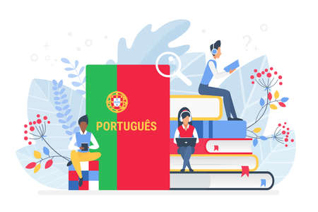 People learning Portuguese language vector illustration. Portugal Distance education, online learning courses concept. Students reading books cartoon characters. Teaching foreign languages 免版税图像 - 156366379