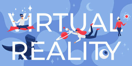 Virtual reality lettering vector illustration. Cartoon flat futuristic concept with developer user people in vr glasses flying next to virtual reality big letters, future interactive game background