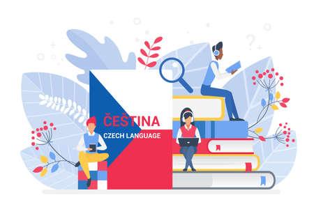 Online language courses flat vector illustration. Distance education, remote school, Czech university. Internet class, e learning language school isolated. Students reading Czech books. 向量圖像