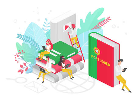 People learning Portuguese language isometric 3d illustration. Portugal Distance education, online learning courses concept. Students reading books cartoon characters. Teaching foreign languages. 矢量图像