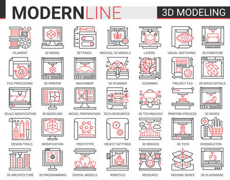 3d printing complex concept science technology thin line web icons vector set. Red black thin line creative design with modelling modern tech printer equipment machinery, future scientific innovations Ilustração