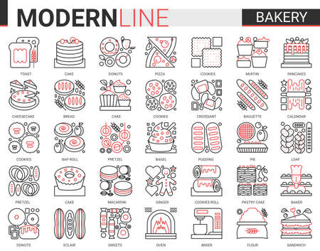 Bakery red black concept complex line icons vector set. Sweet food dessert outline pictogram collection with baker chef sugar products and equipment, bread cake pie cookie cheesecake symbols Çizim
