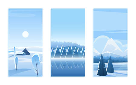 Christmas landscape greeting card vector illustration set. Cartoon cute frost woods with geometric pine trees under snow, blue flat mountains on horizon, snowy winter woodland landscape collection
