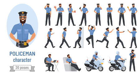 Policeman poses vector illustration set. Cartoon bearded professional police officer character in various action with emotions, cop in uniform posing and running, standing or walking isolated on white Illustration