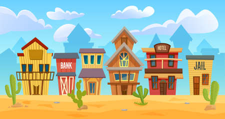 Wild west city vector illustration. Cartoon western cityscape with old wooden house buildings for cowboys, sheriff office, hotel and bank on street, empty wild western desert landscape background