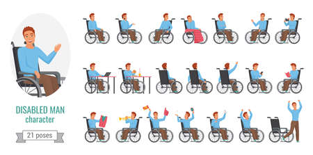 Disabled man poses vector illustration set. Cartoon disable boy character with disability health problem sitting in wheelchair in various poses and gestures, front, side or back view isolated on white