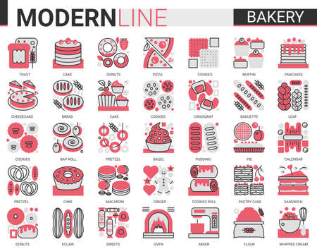 Bakery complex concept flat line icons vector set. Sweet food dessert outline pictogram collection with baker chef sugar products and equipment, bread cake pie cookie cheesecake symbols