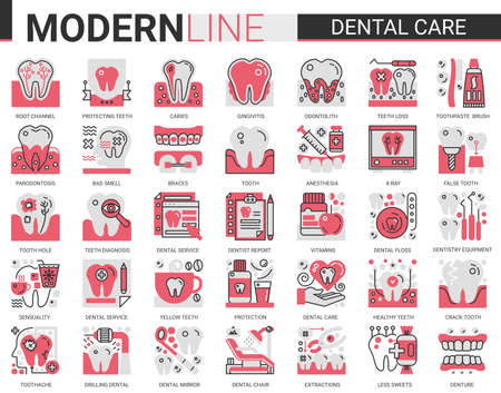 Dental care medicine complex concept flat line icons vector set, outline dentistry healthcare website symbols collection with medical tooth implant pictogram, dentist equipment, toothpaste