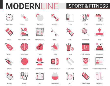 Fitness healthy lifestyle flat thin red black line icon vector illustration set with athletic sportive equipment outline symbols for sport exercises and yoga activity, training and healthcare diet Illustration