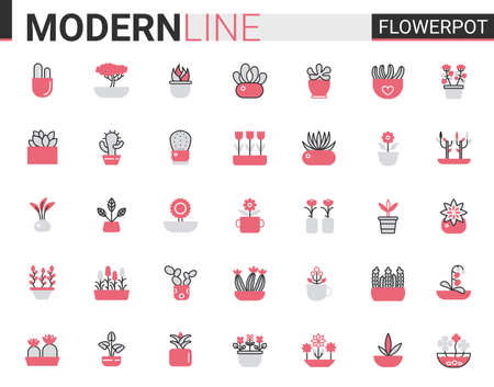 Flower pots for home garden flat thin red black line icon vector illustration set. Flowerpots outline pictogram gardening decoration symbols, linear florist decor collection with potted plants or tree