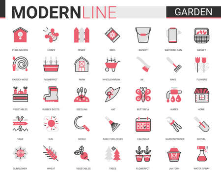Garden farm tool icon vector illustration set. Red black thin flat line gardening or landscaping accessories for gardener farmer worker, agriculture equipment collection of outline pictogram symbols