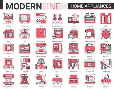 Home appliances complex concept flat line icon vector set. Red black thin linear symbols for house cleaning, kitchen or bathroom household items, hair body care, electronic gadgets outline collection