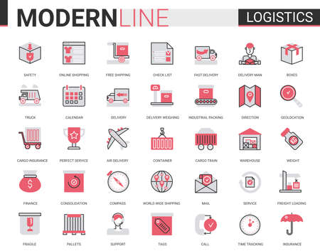 Logistics transportation, delivery service flat line icon vector illustration set. Red black thin linear delivering symbols for mobile app website with freight transport, warehouse loading, shipping