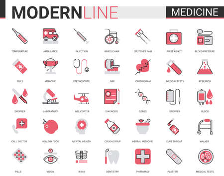 Medicine healthcare flat line icon vector illustration set. Red black thin linear design collection, medical health care symbols for mobile apps with hospital research lab equipment, doctor treatment Illustration