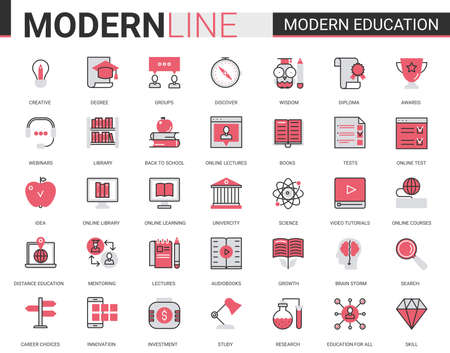 Modern education flat line icons vector illustration set with linear educational technology symbols for mobile apps with process learning in tech online course, school or university Vetores