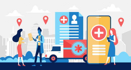 Online pharmacy, business medicine drug store concept vector illustration. Cartoon tiny pharmacist doctor people care for patient, selling pharmaceutical products in online pill drugstore background Illustration