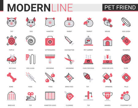 Pet shop flat line icon vector illustration set with outline veterinary symbols for dog cat snake fish mouse hamster rabbit parrot bird pet care vet items, linear food toy for adopted animal Illustration
