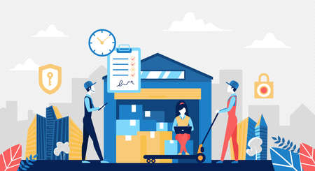 Warehouse delivery service concept vector illustration. Cartoon storehouse worker people work in logistic delivering company, load boxes with trolley, distribution transportation center background