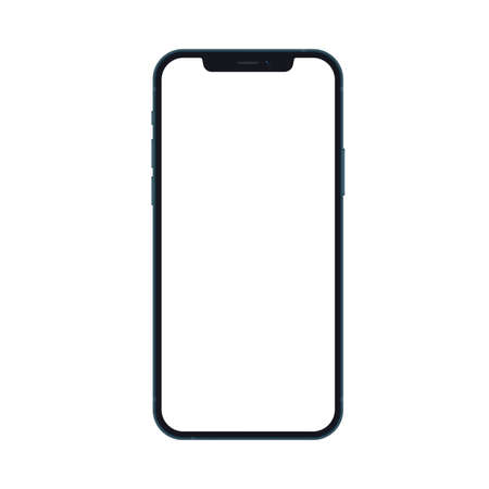 Mobile smartphone phone mockup isolated on white background with blank screen. Realistic vector illustration