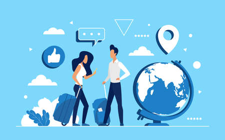 People travel concept vector illustration. Cartoon man woman tourist characters with suitcases and smartphone standing next to globe world map, global communications, traveling around world background