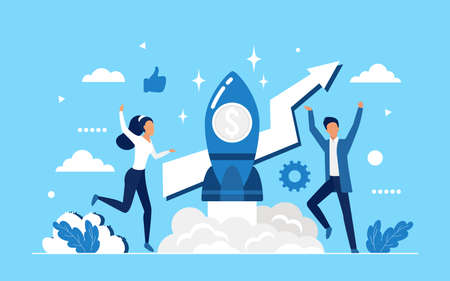 Business startup, success teamwork on launch rocket concept vector illustration. Cartoon business people team launching space ship, starting new successful idea to increase profits wealth background