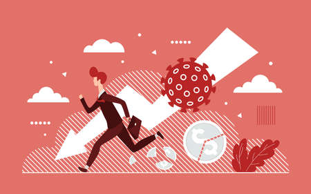 Coronavirus covid19 virus impact global business, attack economy vector illustration. Cartoon businessman in panic running away, economical crisis collapse, bankruptcy huge downfall finance background