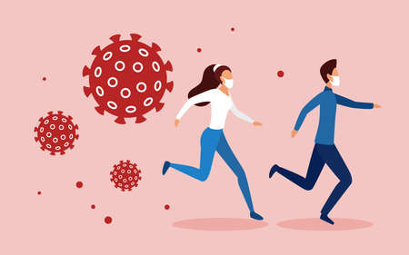 People run away from aggressive danger scary coronavirus covid19 cells concept vector illustration. Cartoon man woman couple characters running in panic fear, virus pathogens catching up background