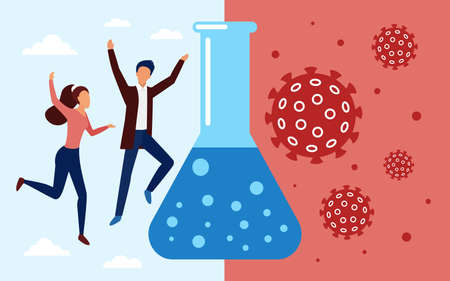 Happy vaccinated couple people jump and celebrate successful coronavirus vaccine development vector illustration. Cartoon healthcare success vaccination concept, stop pandemic Covid-19 background